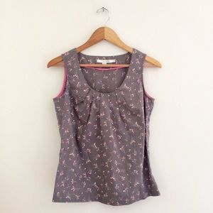 Boden Blouse Gray Pink Floral Tank Size 2